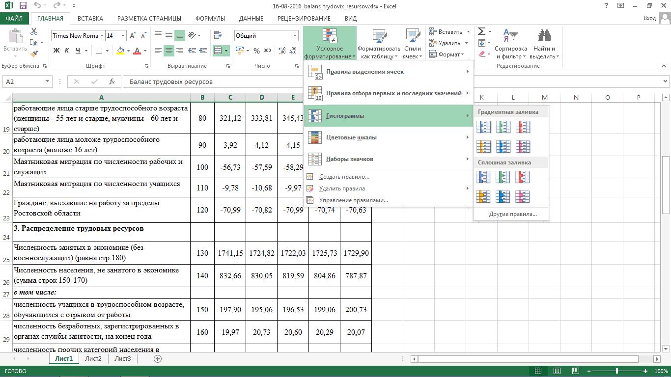 Условное форматирование Excel 2013