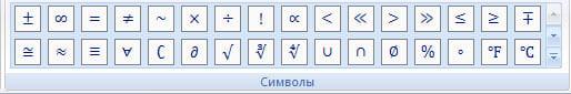 Панель символов